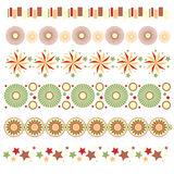 Trims with stars, circles and abstract flowers Stock Image
