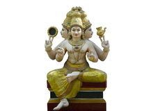 Trimurti deity sculpture. The Trimūrti is the Triple deity of supreme divinity in Hinduism in which the cosmic functions of creation, maintenance, and stock photos