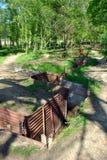 Trincheiras no museu de madeira do santuário no monte 62 Imagens de Stock Royalty Free
