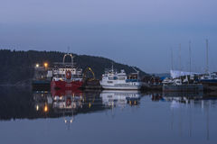 Trine uploads timber. Trine is moored on the quay at port of Halden, Norway and upload timber stock photography