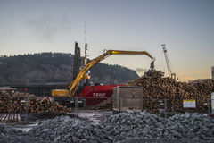 Trine uploads timber. Trine is moored on the quay at port of Halden, Norway and upload timber stock image
