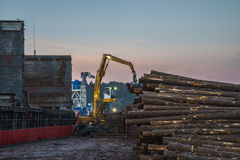 Trine uploads timber. Trine is moored on the quay at port of Halden, Norway and upload timber stock photos