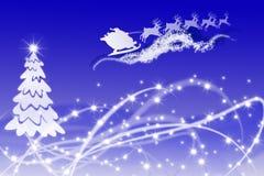 Trineo blanco del árbol de navidad y de Papá Noel en brillante Foto de archivo