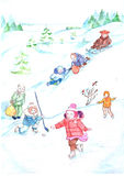 Trineo de la diapositiva de la nieve del paseo de la muchacha del muchacho del dibujo de los niños del invierno, patinaje de hiel Imagenes de archivo