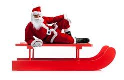 Trineo de la Navidad con Santa Claus Fotografía de archivo