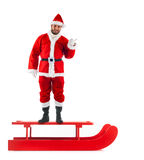 Trineo de la Navidad con Santa Claus Fotografía de archivo libre de regalías