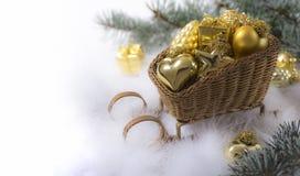Trineo de la Navidad para la postal Imágenes de archivo libres de regalías