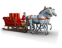 Trineo de los caballos blancos del whith tres de Santa Fotos de archivo libres de regalías