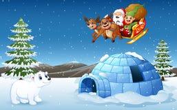Trineo de los ciervos del montar a caballo de Santa Claus y del duende que vuela sobre la colina con el oso polar y el iglú ilustración del vector