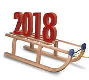 Trineo de madera clásico con la muestra del Año Nuevo 2018 Imagenes de archivo