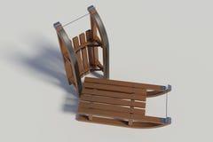 Trineo de madera dos en el fondo blanco Fotografía de archivo libre de regalías