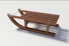 Trineo de madera en el fondo blanco Fotos de archivo libres de regalías