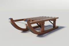 Trineo de madera en el fondo blanco Foto de archivo libre de regalías