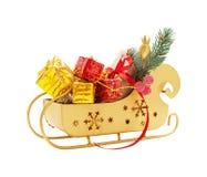 Trineo de Papá Noel con los regalos Imágenes de archivo libres de regalías