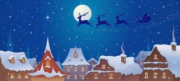 Trineo de Papá Noel sobre ciudad ilustración del vector