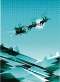 Trineo de santa del vuelo en el cielo Fotografía de archivo