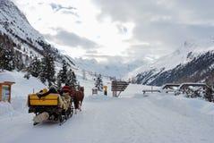Trineo del caballo en rastro de la nieve Imágenes de archivo libres de regalías