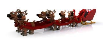 Trineo y reno de Santas Fotografía de archivo