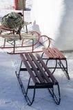 Trineos en la nieve Fotografía de archivo