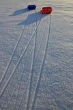 Trineos en nieve Fotografía de archivo