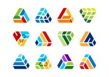 Triângulo, elemento, construção, logotipo, construção, casa, arquitetura, bens imobiliários, casa, elementos Imagem de Stock Royalty Free