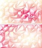 Triángulo geométrico poligonal Ruby Backgrounds amarillo rosado rojo multicolor del polígono Foto de archivo libre de regalías