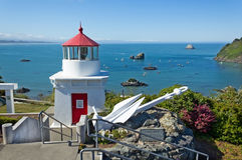 Trinidad bay memorial lighthouseand harbor, California Royalty Free Stock Image
