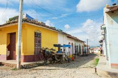 Horse drawn cart on a street in Trinidad stock photos