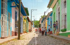 Trinidad Cuba: everyday lifestyle on a cobblestone street Stock Image