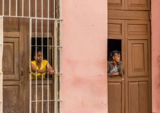 A typical view in Trinidad in Cuba royalty free stock image