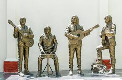 Trinidad Cuba: statue of The Beatles in the House of Music. Trinidad, Cuba-July 22, 2016: Monument to the Beatles in the House of Music. The Beatles were Royalty Free Stock Photography