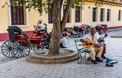 Cuban Musicians in Square stock photography