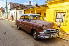 Old american car on street of Trinidad stock images