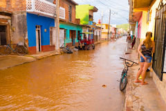 TRINIDAD, CUBA - SEPTEMBER 8, 2015: Overstroomd royalty-vrije stock afbeelding