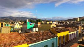 In Trinidad, Cuba. View from roof on the street in Trinidad, Cuba stock video footage