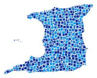 Trinidad Island Map Composition of Squares. Trinidad Island map composition of random filled squares in various sizes and blue shades. Vector small square are Stock Images