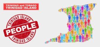 Trinidad Island Map Population Demographics e selo sujo ilustração royalty free
