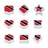 Trinidad & le icone ed il bottone delle bandiere del Tobago hanno fissato nove stili Fotografia Stock Libera da Diritti