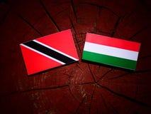 Trinidad och Tobago flagga med den ungerska flaggan på en iso för trädstubbe Arkivfoto