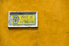 Trinidad Plaza Sign. Street sign for Trinidad Plaza in the Getsemani neighborhood of Cartagena, Colombia Stock Image