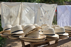Trinidad - Straw hats and bags on street stall Royalty Free Stock Images