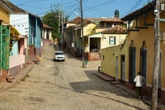 Trinidad street. Old white car in a Trinidad street, Cuba royalty free stock photos