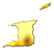 Trinidad and Tobago 3d Golden Map Stock Photos