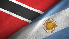 Trinidad and Tobago and Argentina two flags textile cloth, fabric texture. Trinidad and Tobago and Argentina flags together textile cloth, fabric texture royalty free illustration