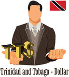 Trinidad and Tobago currency symbol TTD dollar representing money and Flag. Vector design concept of businessman in suit with his open hand over with currency Stock Photos