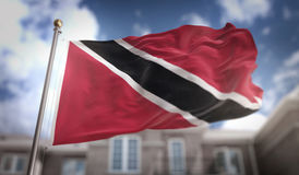 Trinidad and Tobago Flag 3D Rendering on Blue Sky Building Backg Royalty Free Stock Image