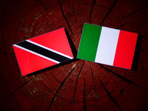 Trinidad and Tobago flag with Italian flag on a tree stump isola Stock Photos