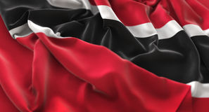 Trinidad and Tobago Flag Ruffled Beautifully Waving Macro Close-. Up Shot Studio Stock Photos