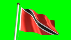 Trinidad and Tobago flag. (seamless & green screen stock video footage