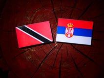 Trinidad and Tobago flag with Serbian flag on a tree stump isolated. Trinidad and Tobago flag with Serbian flag on a tree stump stock photography